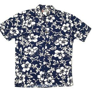 Hilo Hattie Mens Camp Hawaiian Shirt Blue Floral S